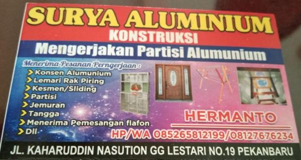 Surya Aluminium 1 - Surya Aluminium | Konstruksi Aluminium Pekanbaru
