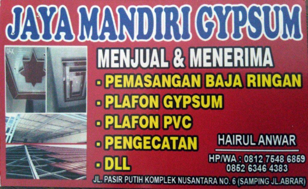 Jaya Mandiri Gypsum 7 - Pemasangan Plafon dan Baja Ringan Bergaransi Pekanbaru - Jaya Mandiri Gypsum